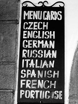 Prague menu board